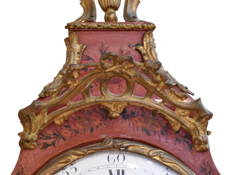 18th Century French Louis XV Mantel Clock with Ormolu and Hand Painted Flowers by Perrard For Sale