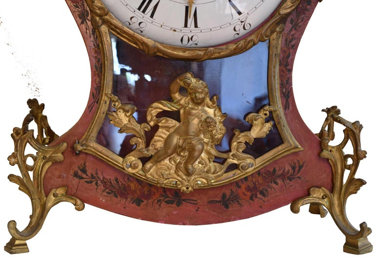 Enamel French Louis XV Mantel Clock with Ormolu and Hand Painted Flowers by Perrard For Sale