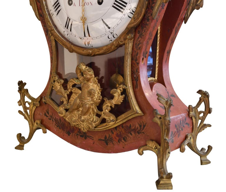 French Louis XV Mantel Clock with Ormolu and Hand Painted Flowers by Perrard For Sale 1