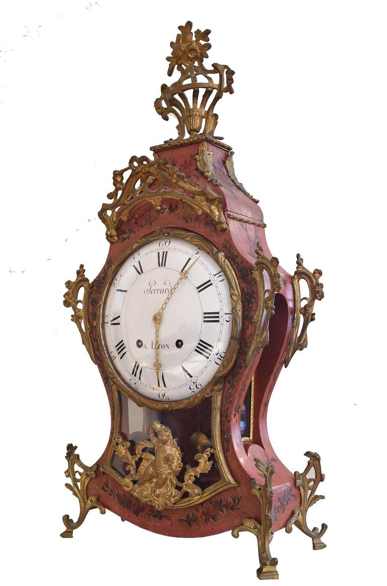 French Louis XV Mantel Clock with Ormolu and Hand Painted Flowers by Perrard For Sale 2