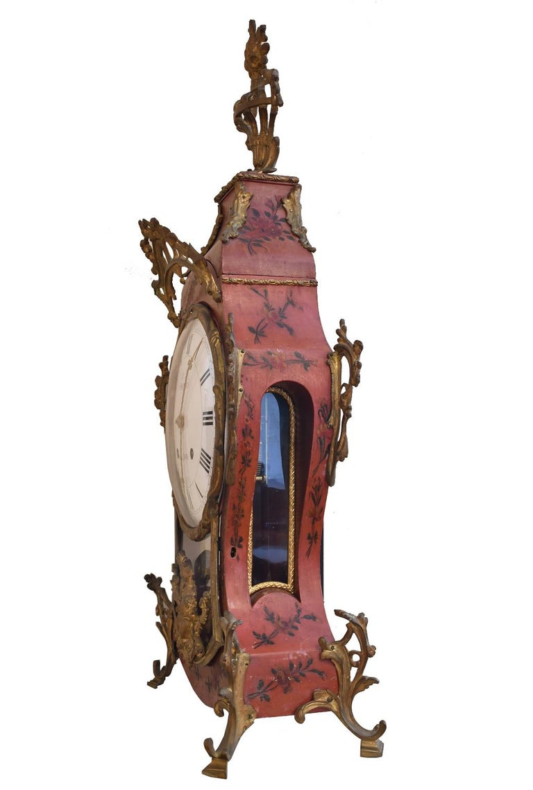 French Louis XV Mantel Clock with Ormolu and Hand Painted Flowers by Perrard For Sale 3