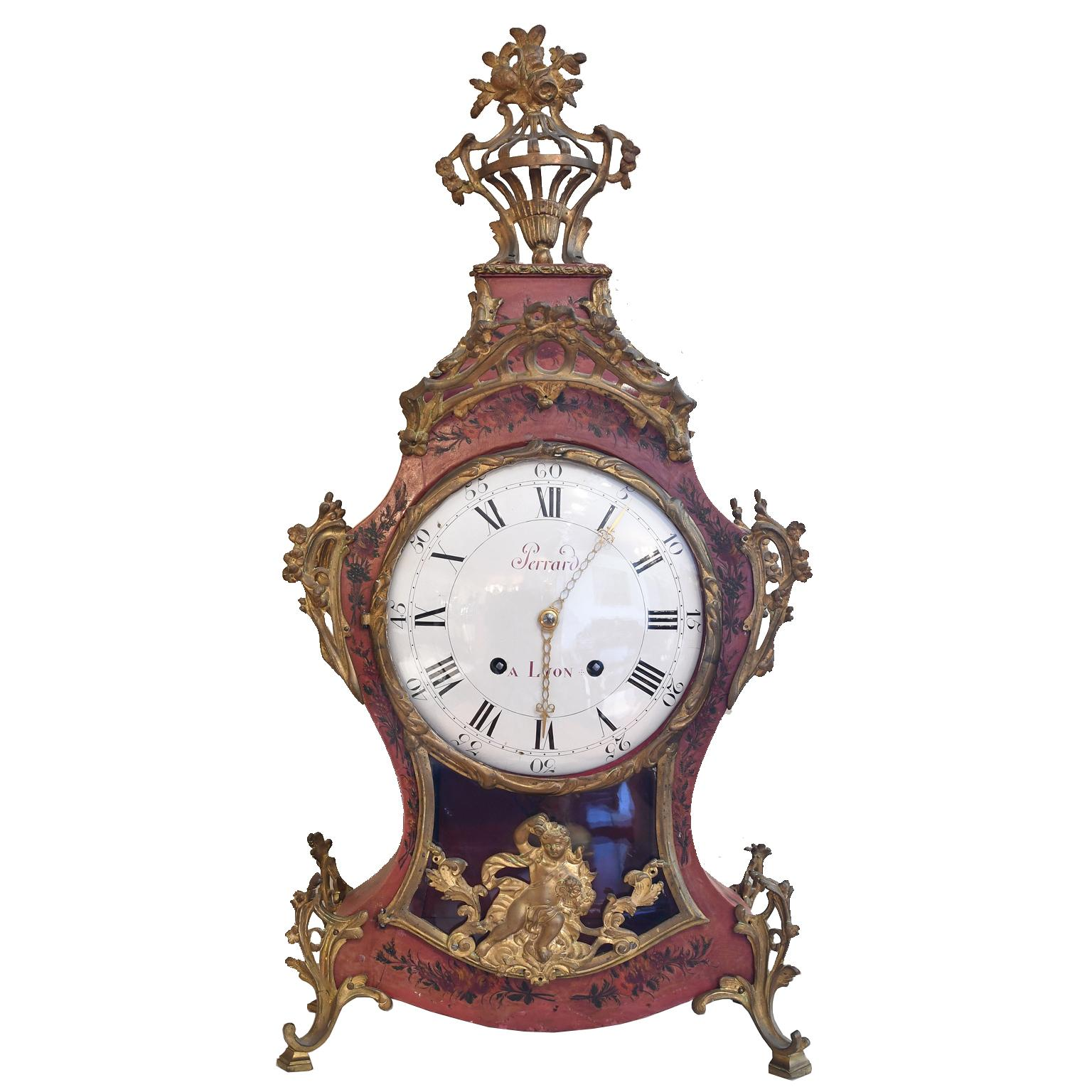 French Louis XV Mantel Clock with Ormolu and Hand Painted Flowers by Perrard