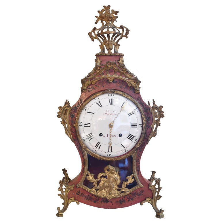 French Louis XV Mantel Clock with Ormolu and Hand Painted Flowers by Perrard For Sale
