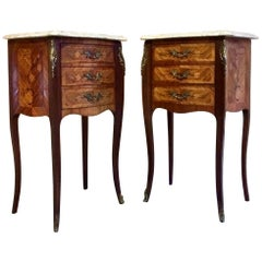 French Louis XV Marble Bombe Commode Bedside Cabinets Tables Set 1
