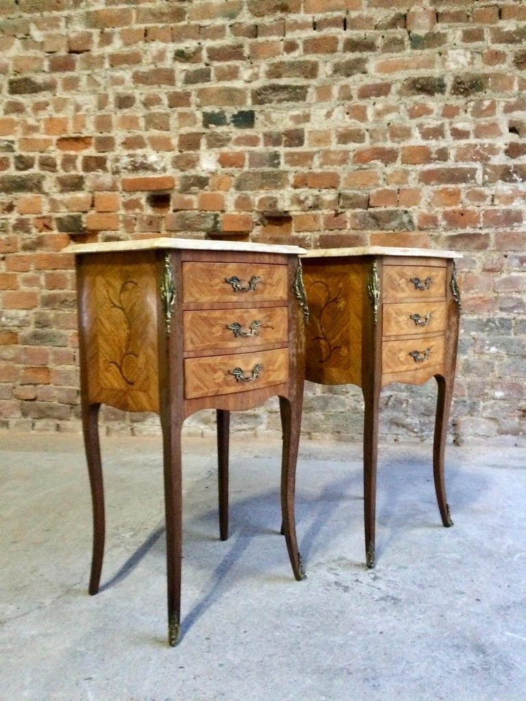 Cream Bedside Tables: French Louis XV Marble Bombe Commode Bedside Cabinets