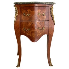 French Louis XV Marquetry Nightstand Side Cabinet with Green Marble Top