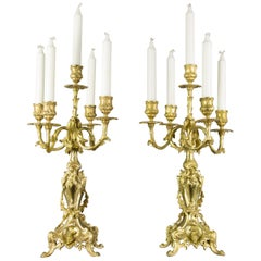 French Louis XV or Rococo Style French Bronze Candelabras with Dolphins, a Pair