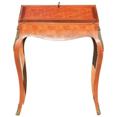 French Louis XV Ormolu Parquetry Dressing Table or Small Desk
