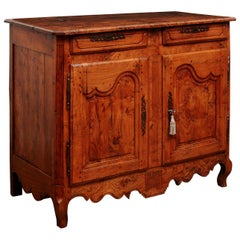 French Louis XV Period 1750s Rustic Ash Buffet with Two Drawers over Two Doors