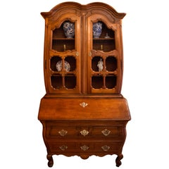 French Louis XV Period Bombe Walnut Deux-Corps Slant-Desk Commode from Bordeaux