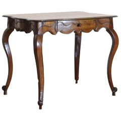 French Louis XV Period Carved and Shaped Walnut 1-Drawer Table, Mid-18th Century