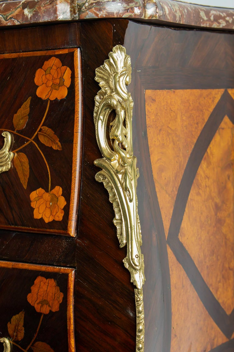 French Louis XV Period Flowers Marquetry Commode, circa 1740-1750 For Sale 5
