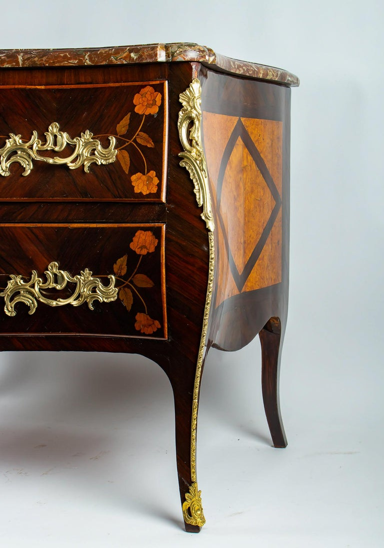 French Louis XV Period Flowers Marquetry Commode, circa 1740-1750 For Sale 7