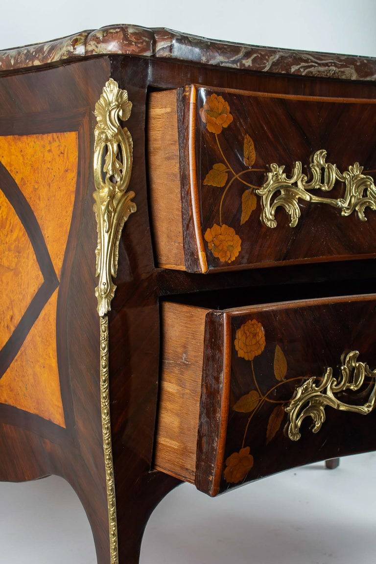 Gilt French Louis XV Period Flowers Marquetry Commode, circa 1740-1750 For Sale