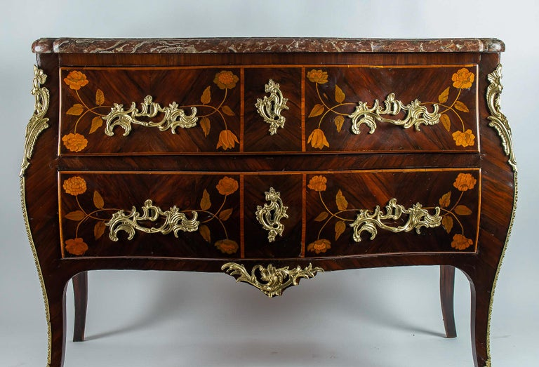 18th Century French Louis XV Period Flowers Marquetry Commode, circa 1740-1750 For Sale