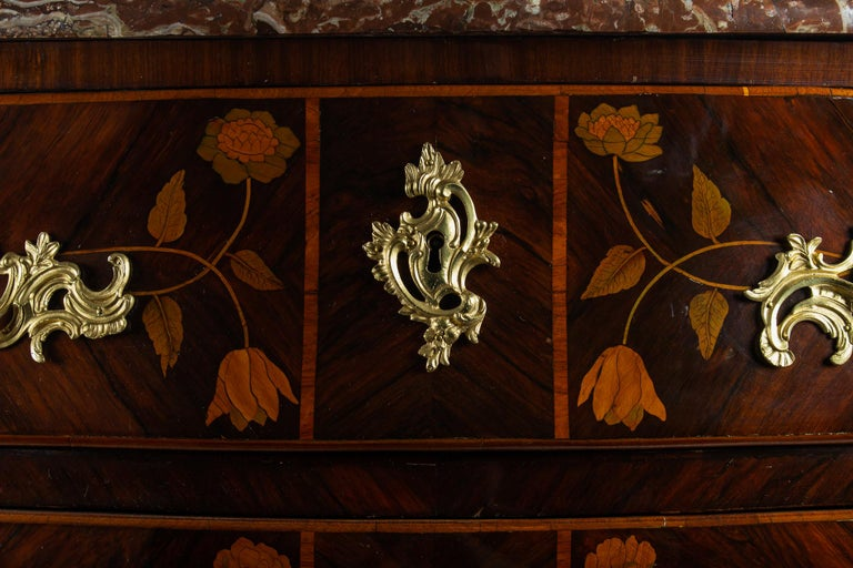 French Louis XV Period Flowers Marquetry Commode, circa 1740-1750 For Sale 1