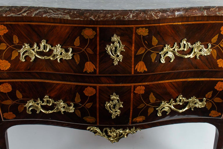 French Louis XV Period Flowers Marquetry Commode, circa 1740-1750 For Sale 2