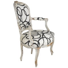 French Louis XV Period Gray Painted Antique Fauteuil Armchair, 18th Century