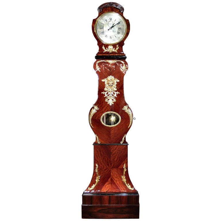French Louis XV Period Tall Case Clock with an Extremely Rare Mechanism Movement For Sale