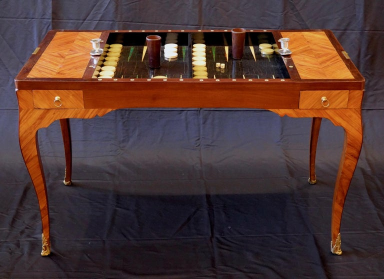French Louis XV Period Tric Trac or Backgammon Table Stamped P. Roussel For Sale 8