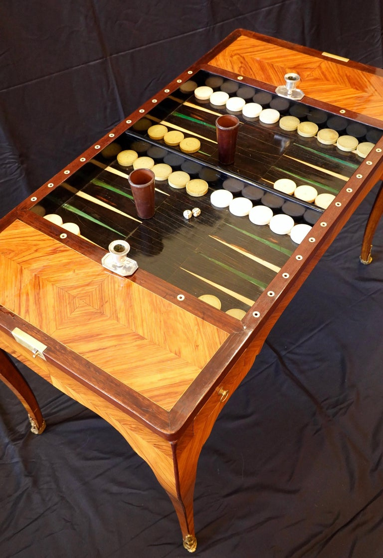 French Louis XV Period Tric Trac or Backgammon Table Stamped P. Roussel For Sale 10