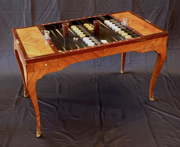 Gilt French Louis XV Period Tric Trac or Backgammon Table Stamped P. Roussel For Sale