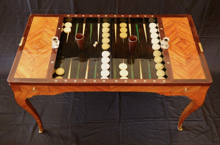 Baize French Louis XV Period Tric Trac or Backgammon Table Stamped P. Roussel For Sale