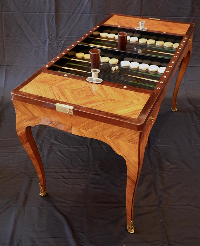 French Louis XV Period Tric Trac or Backgammon Table Stamped P. Roussel For Sale 1