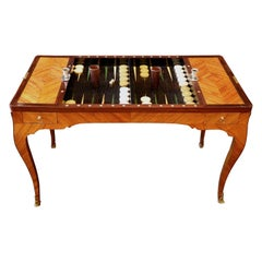 French Louis XV Period Tric Trac or Backgammon Table Stamped P. Roussel