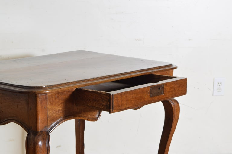 French Louis XV Period Walnut 1-Drawer Table, Carved Apron, Mid-18th Century 3