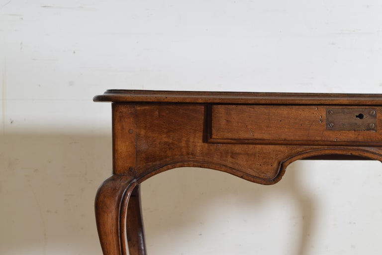French Louis XV Period Walnut 1-Drawer Table, Carved Apron, Mid-18th Century 4