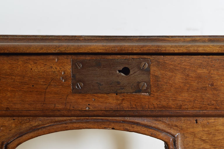 French Louis XV Period Walnut 1-Drawer Table, Carved Apron, Mid-18th Century 5