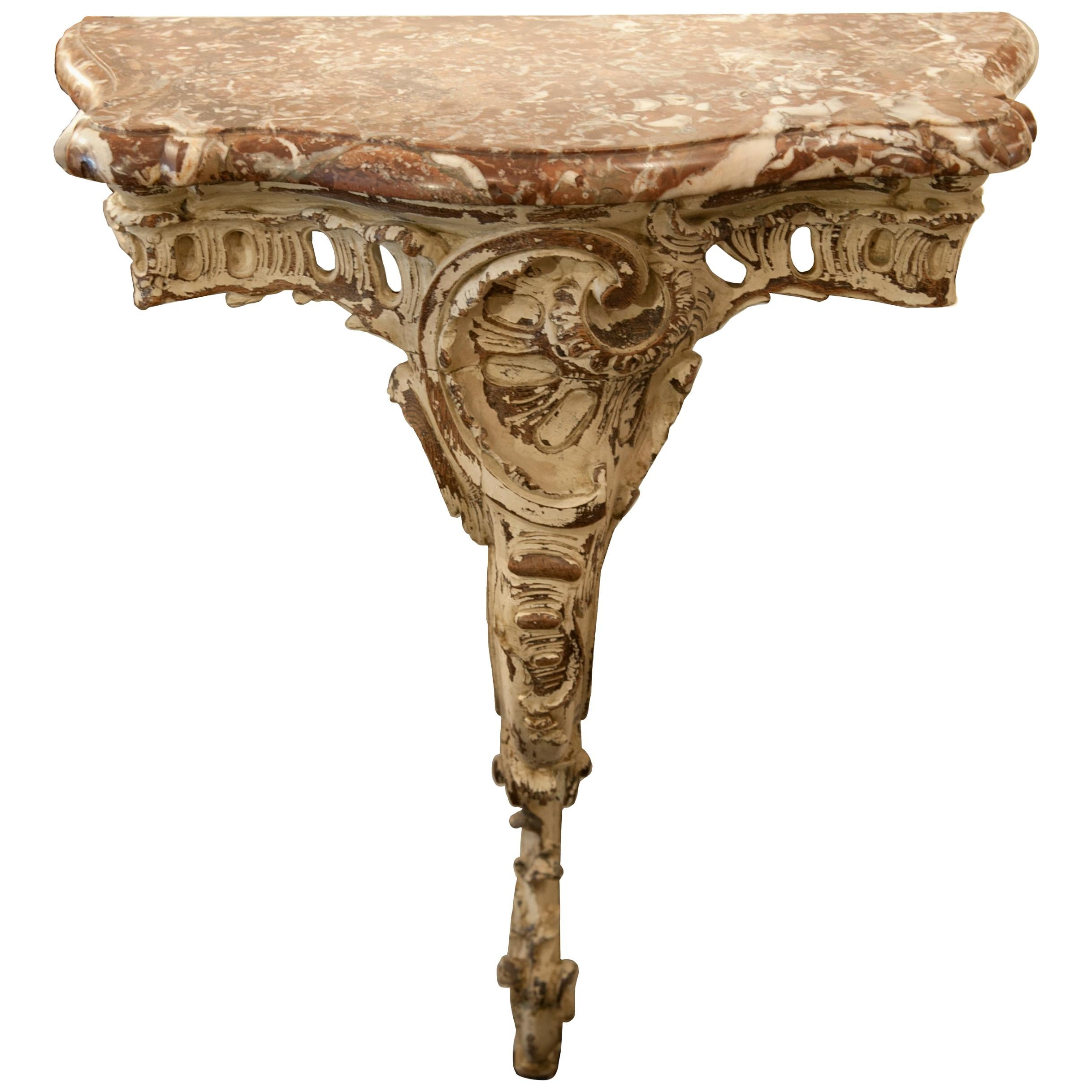 French Louis XV Provencal Style, 19th Century Marble-Top Console Table