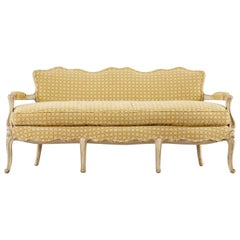 French Louis XV Provincial Style Painted Serpentine Sofa