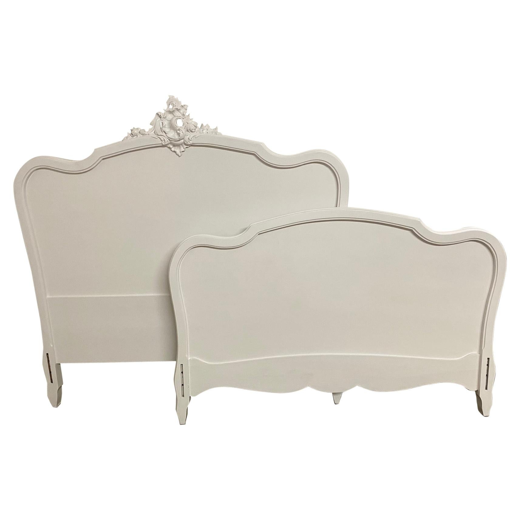 French Louis XV Rococo Style Painted Bed
