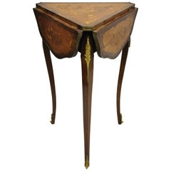 French Louis XV Satinwood Inlay Triple Drop Leaf Side Table with Bronze Ormolu