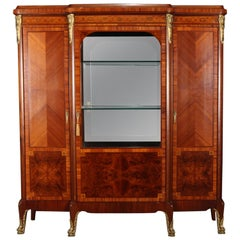 French Louis XV School Flame Mahogany Inlaid and Ormolu China Cabinet