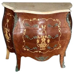 French Louis XV Side Table or Nightstand with Cream Marble Top