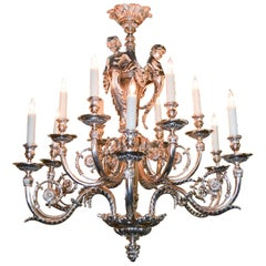 French Louis XV Silvered Bronze Cherubic Chandelier