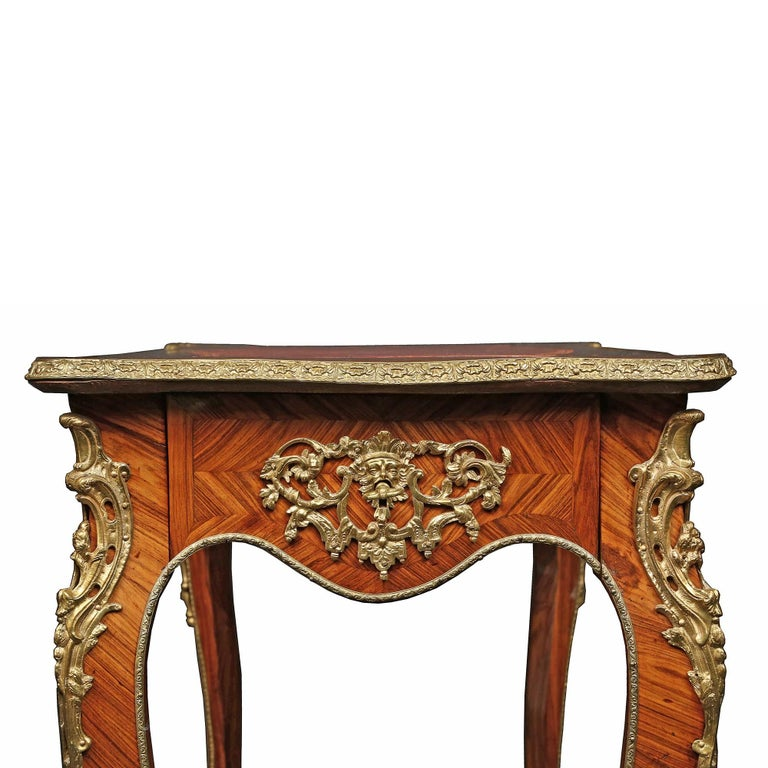 French Louis XV st. 19th Century Tulipwood marquetry table  For Sale 3