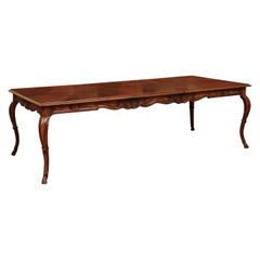 French Louis XV Style 1880s Walnut Extension Dining Table with Two Leaves