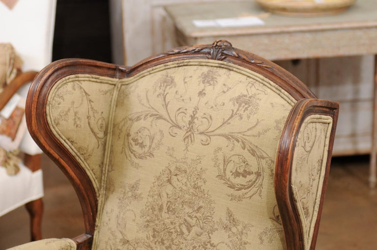 French Louis XV Style 1890s Wingback Chair with Upholstery and Carved Motifs For Sale 8