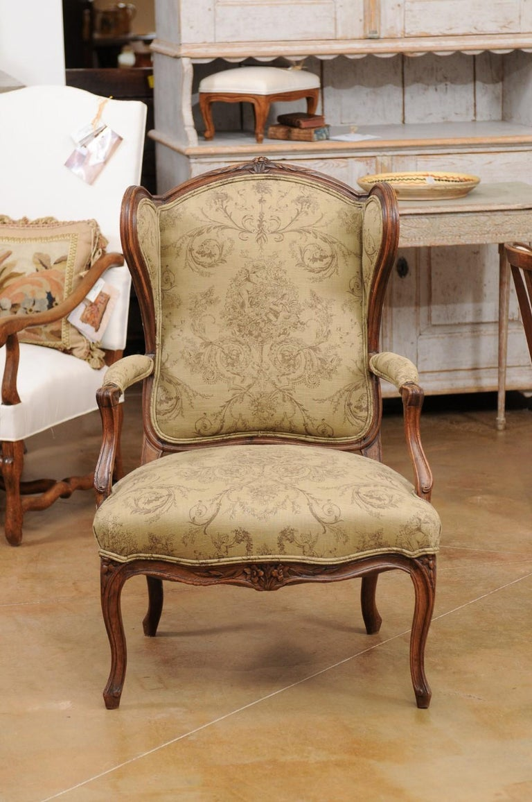 French Louis XV Style 1890s Wingback Chair with Upholstery and Carved Motifs For Sale 9