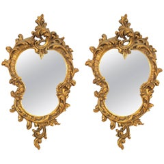 French Louis XV Style '19th-20th Century' Gold Painted Wall Mirrors