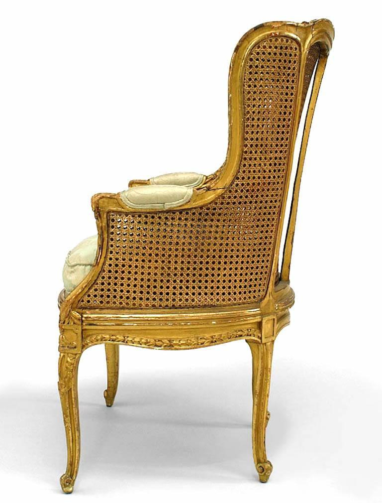 French Louis XV Style '19th Century' Caned Panel Bergere  In Good Condition For Sale In New York, NY