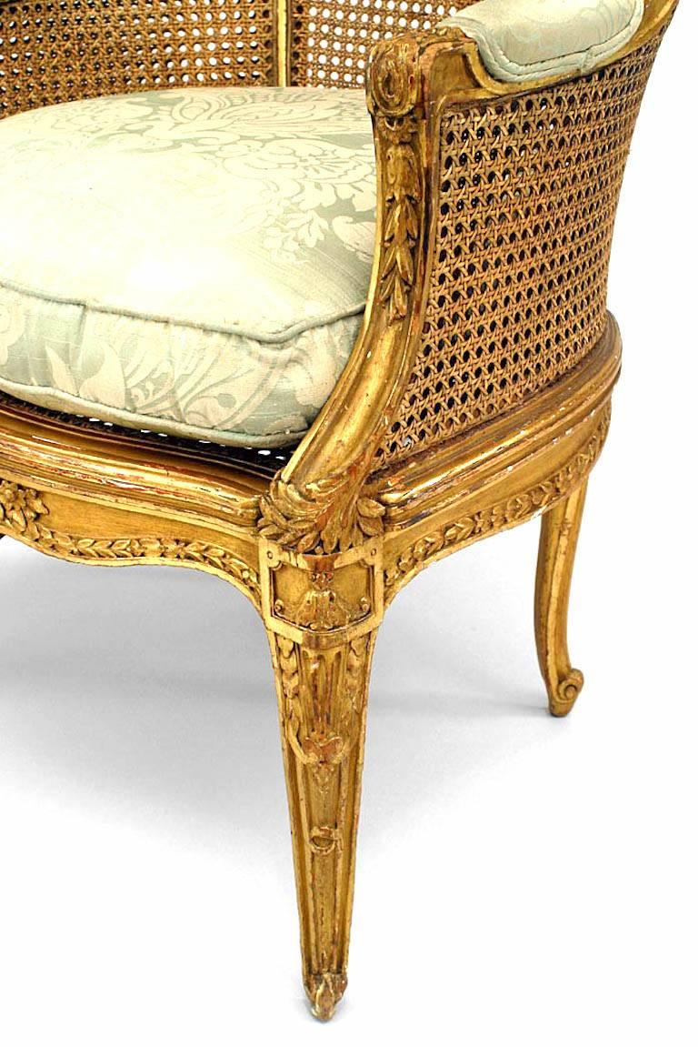 Upholstery French Louis XV Style '19th Century' Caned Panel Bergere  For Sale