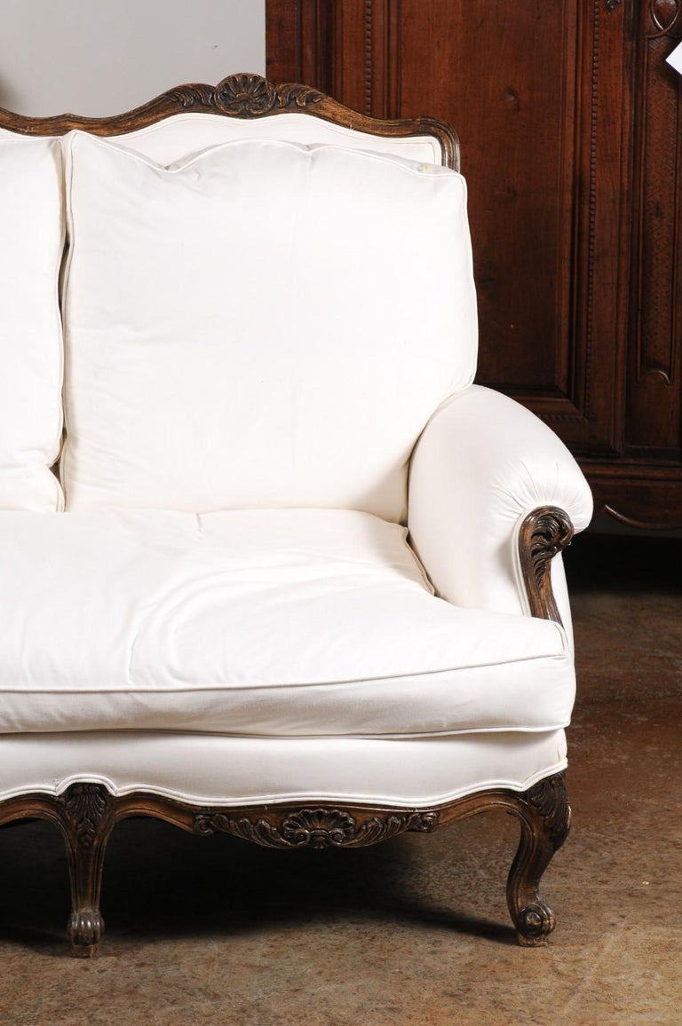 Upholstery French Louis XV Style 19th Century Carved Wood Three-Seat Sofa with Shell Motifs For Sale