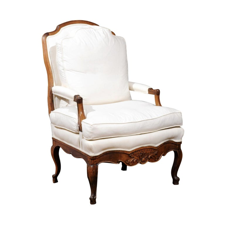 French Louis XV Style 19th Century Walnut Armchair with New Upholstery For Sale