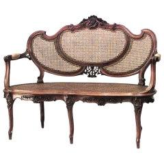 French Louis XV Style 19th Century Walnut Loveseat