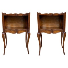 French Louis XV Style 19th Century Wooden Bedside Table with Open Shelf
